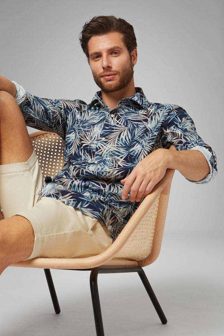 Regular Fit Blue-Beige Print Shirt With Cuban Collar, Blue - Beige, hi-res