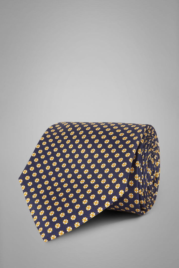 Floral Print Silk Tie, Blue - Yellow, hi-res