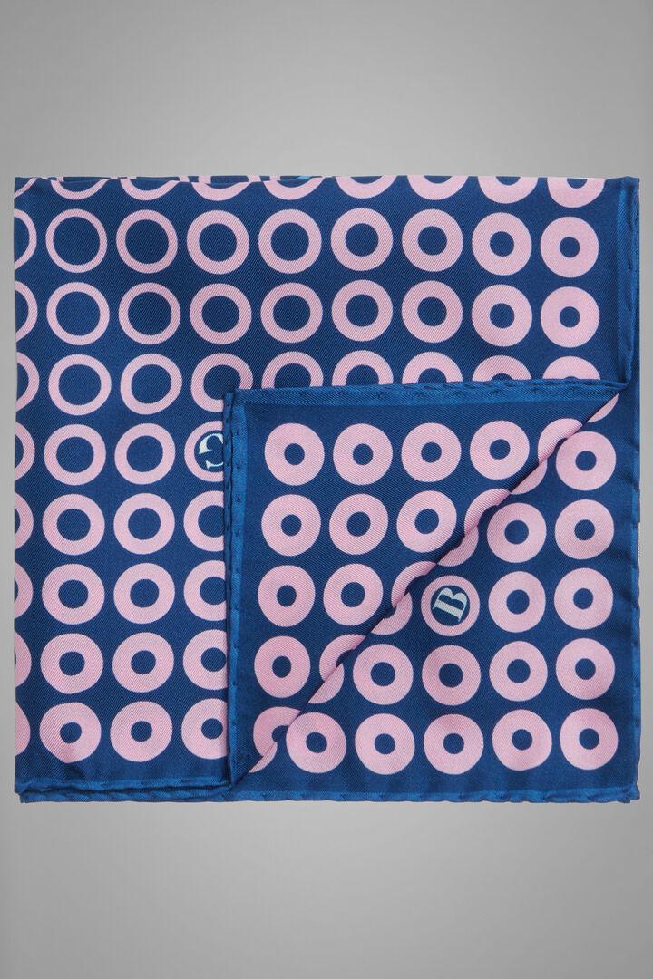 Bedrucktes Einstecktuch Aus Seide, Blau Rosa, hi-res