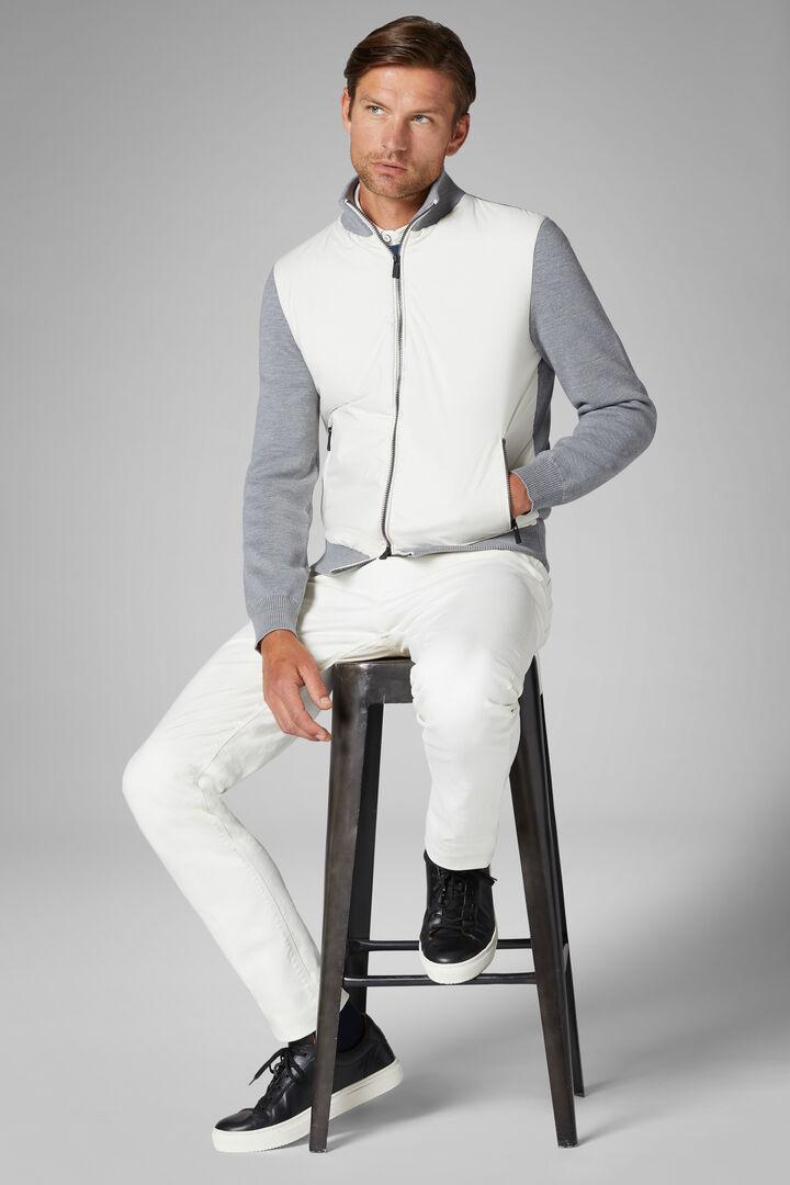 Merino Wool And Nylon Full Zip Jacket, Grey, hi-res
