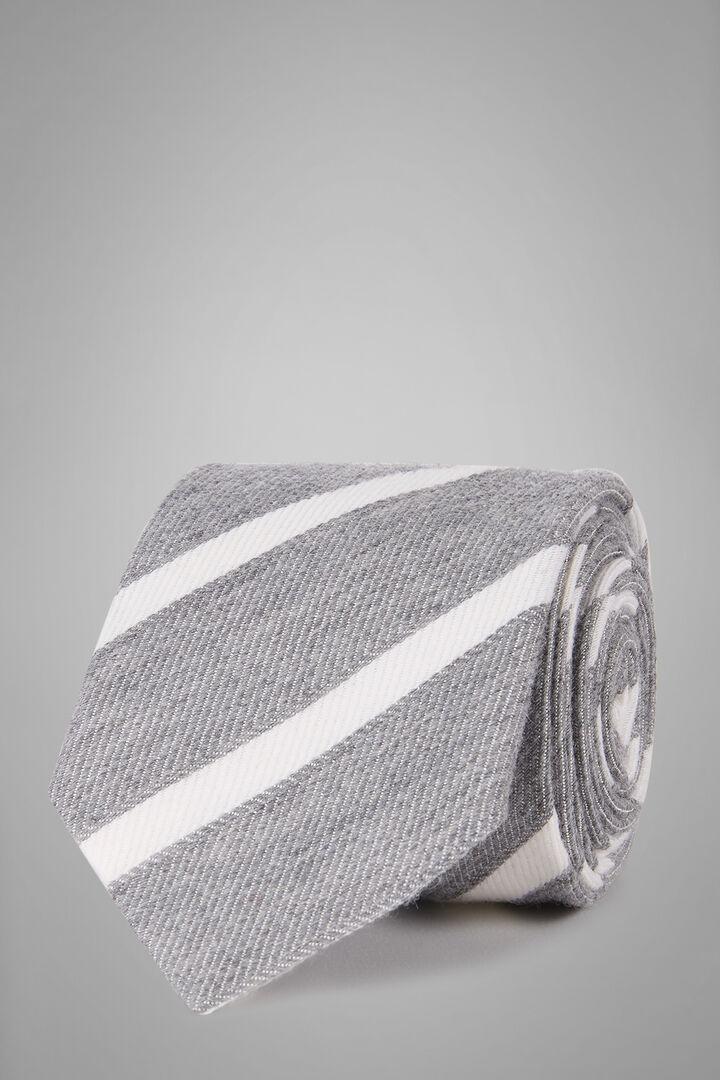 Cravate Regimental En Laine Et Bourrette De Soie, Gris clair, hi-res