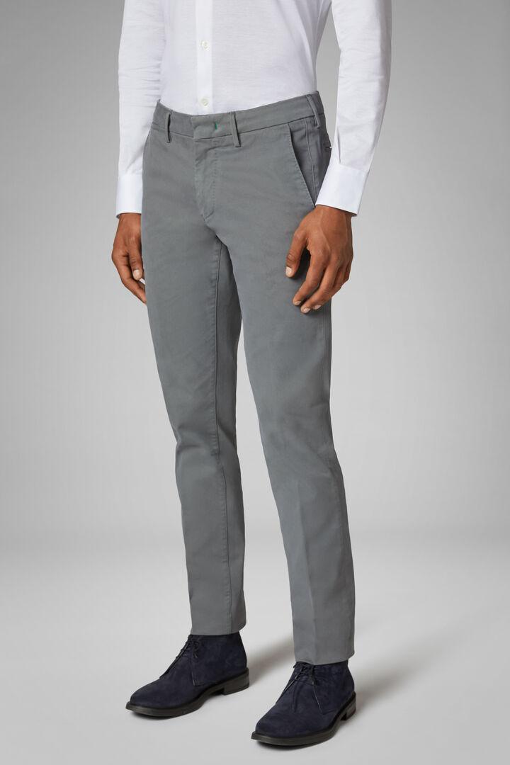 Pantalon En Tricotine De Coton Stretch Coupe Ajustée, Gris, hi-res