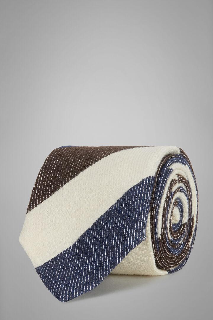 Cravate Regimental En Laine Et Bourrette De Soie, Bleu - Marron foncé, hi-res