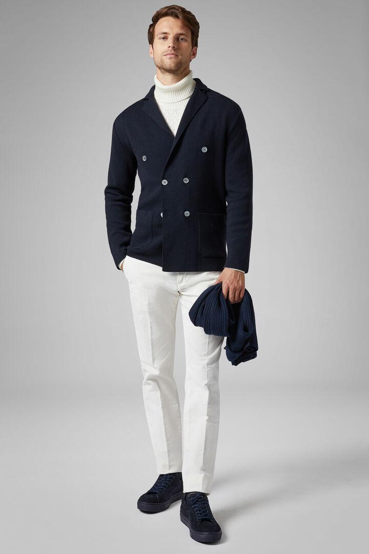 Double-Breasted Milano Stitch Merino Jacket, Navy blue, hi-res