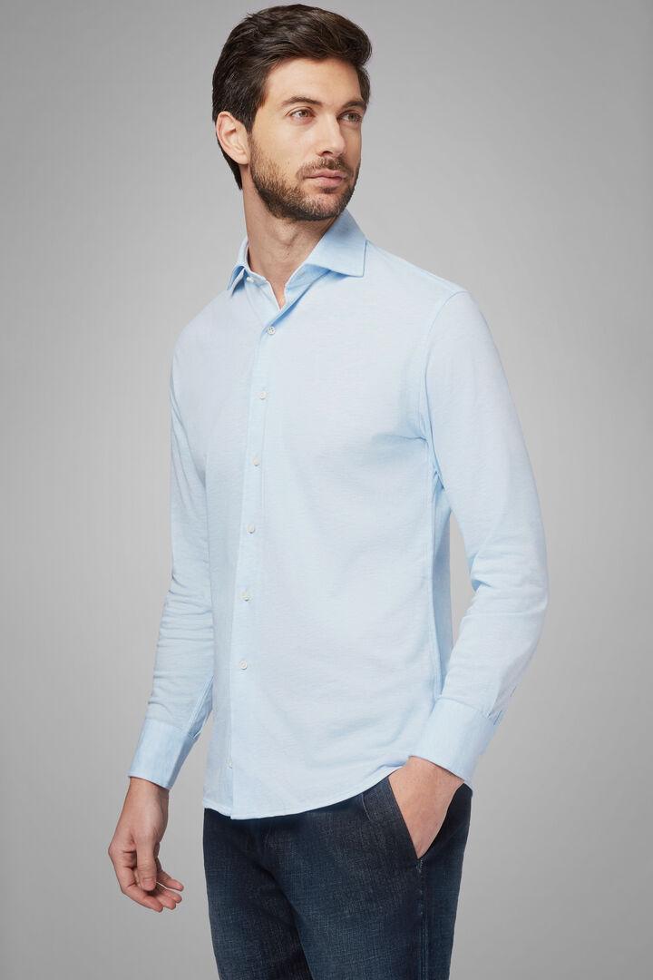 Polo Camicia Azzurra Collo Chiuso Regular Fit, Azzurro, hi-res