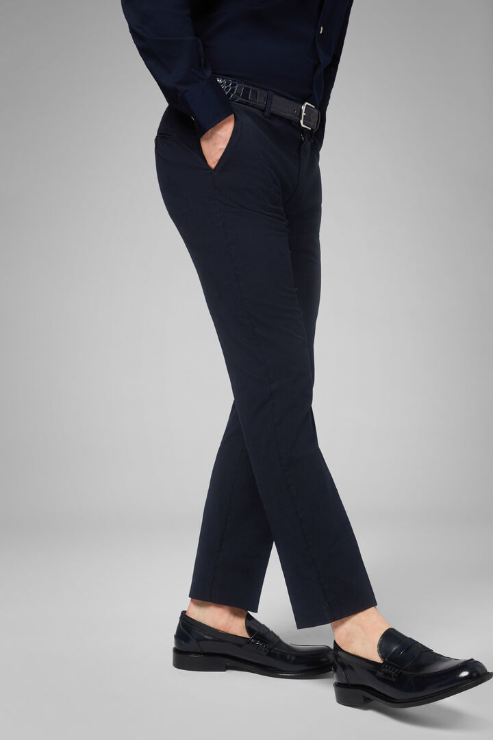 Slim Fit Houndstooth Stretch Cotton Trousers, Navy - Blue, hi-res