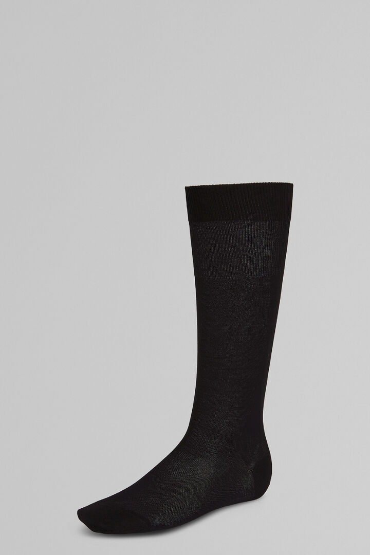 Stockinet Long Socks, Black, hi-res