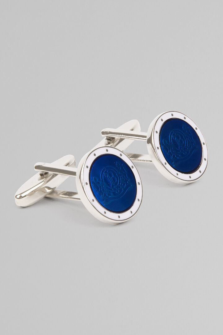 Colourful Cufflinks With Logo, Blue, hi-res