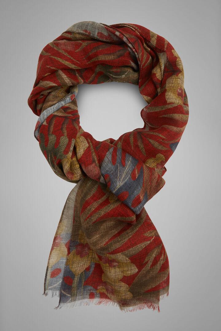 Floral Print Cotton & Linen Scarf, Burgundy, hi-res