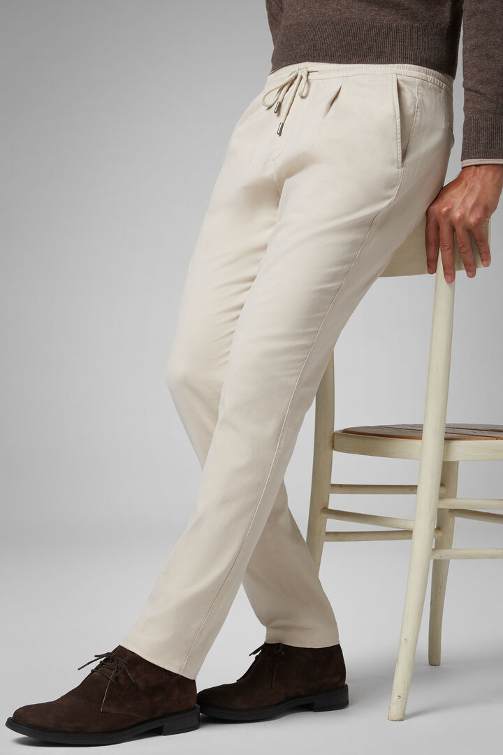Pantalone In Cotone Tencel Con Coulisse Regular, Beige, hi-res