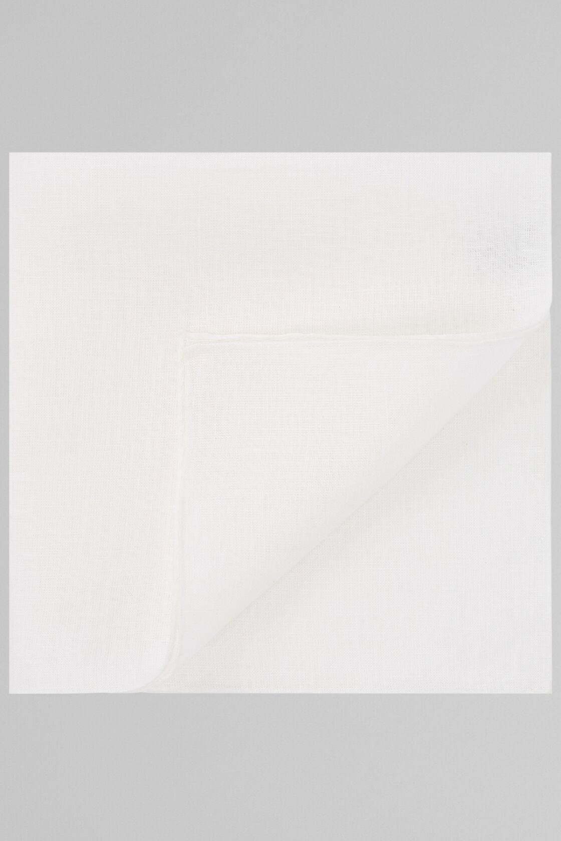 Pochette Tinta Unita Bianca In Puro Lino, Bianco, hi-res