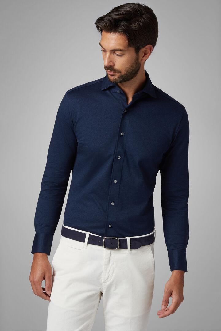 Chemise Polo Bleu À Col Fermé Coupe Ajustée, Bleu, hi-res