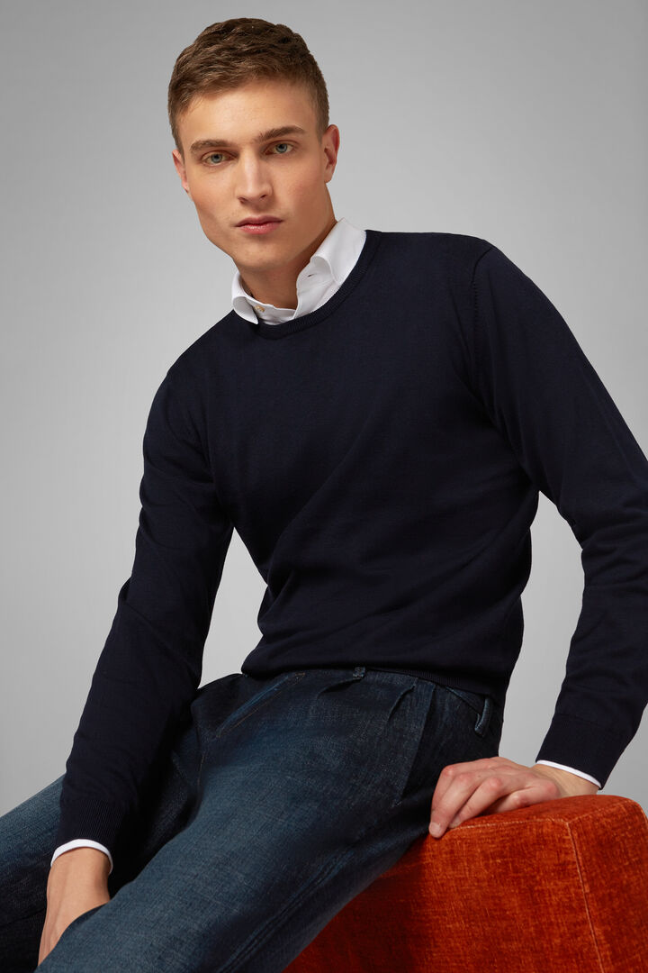 Pima Cotton Round Neck Jumper, Navy blue, hi-res