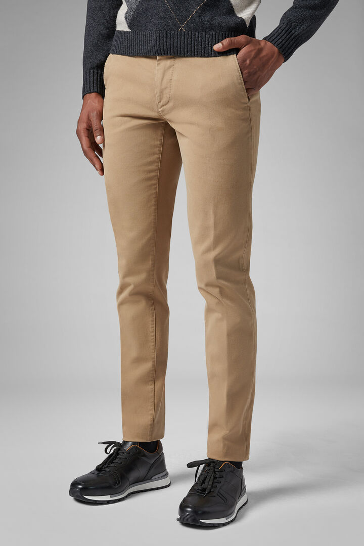 Slim Fit Stretch Cotton Tricotine Trousers, Beige, hi-res