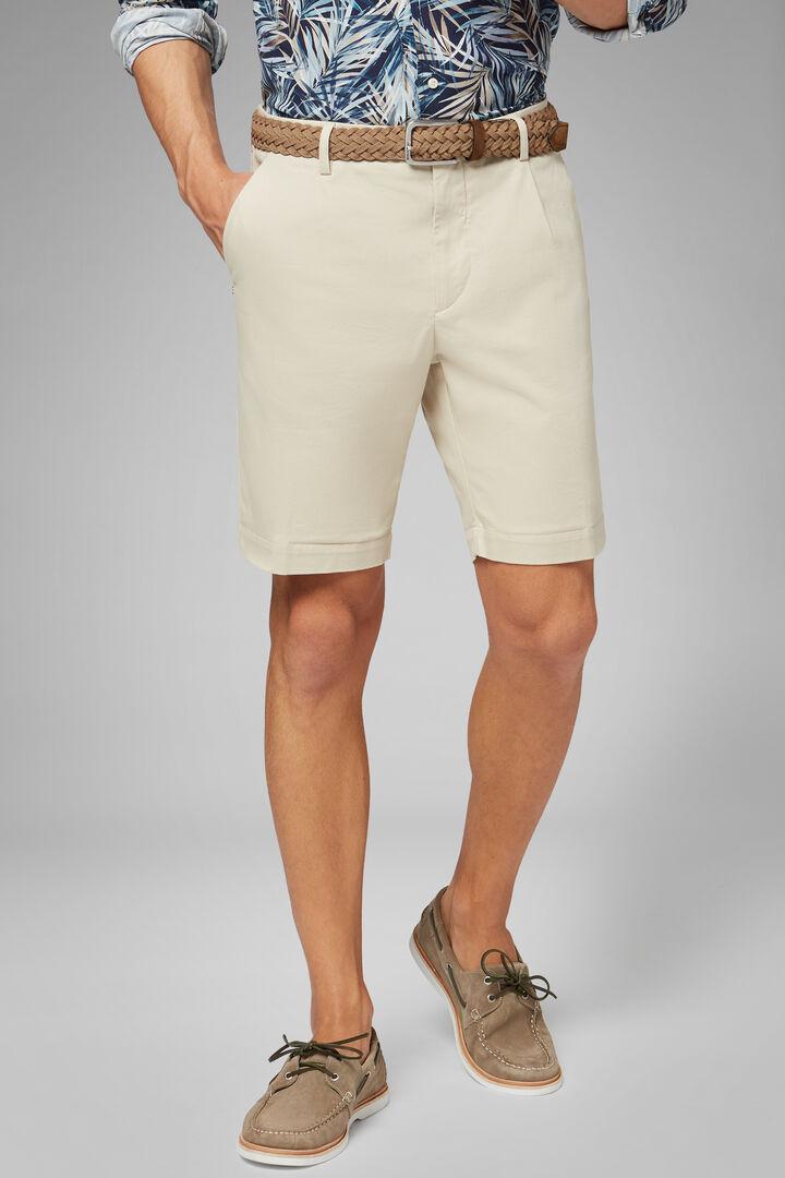 Plain Cotton & Tencel Pleated Bermuda Shorts, Kaki, hi-res