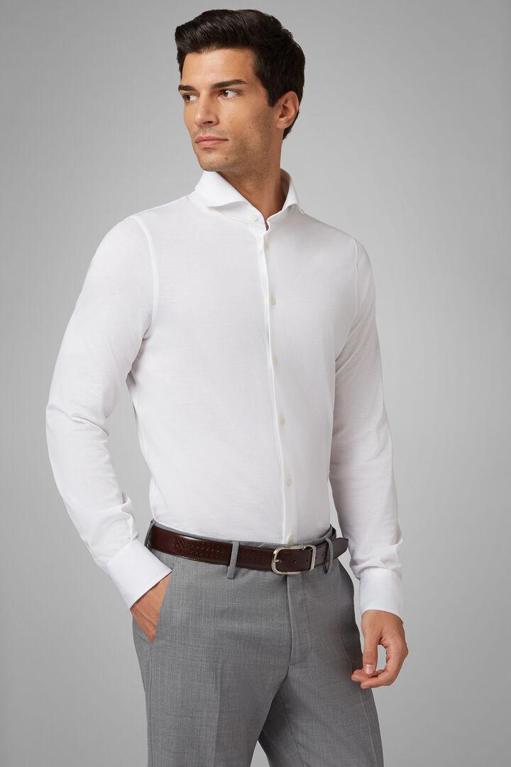 Polo Camicia Bianca Collo Aperto Slim Fit, Bianco, hi-res