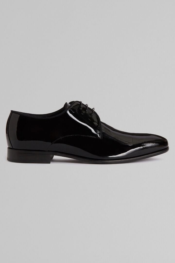 Patent Leather Black Tie Derby Shoes, Black, hi-res