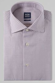 CAMICIA A QUADRETTI MORO COLLO WINDSOR SLIM FIT, MORO, hi-res