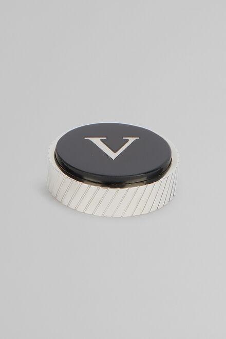 Metal Letter V Cufflinks, Black, hi-res