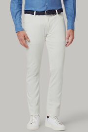 Pantalone 5 Tasche In Cotone Gabardina Tencel Regualr Fit, Bianco, hi-res
