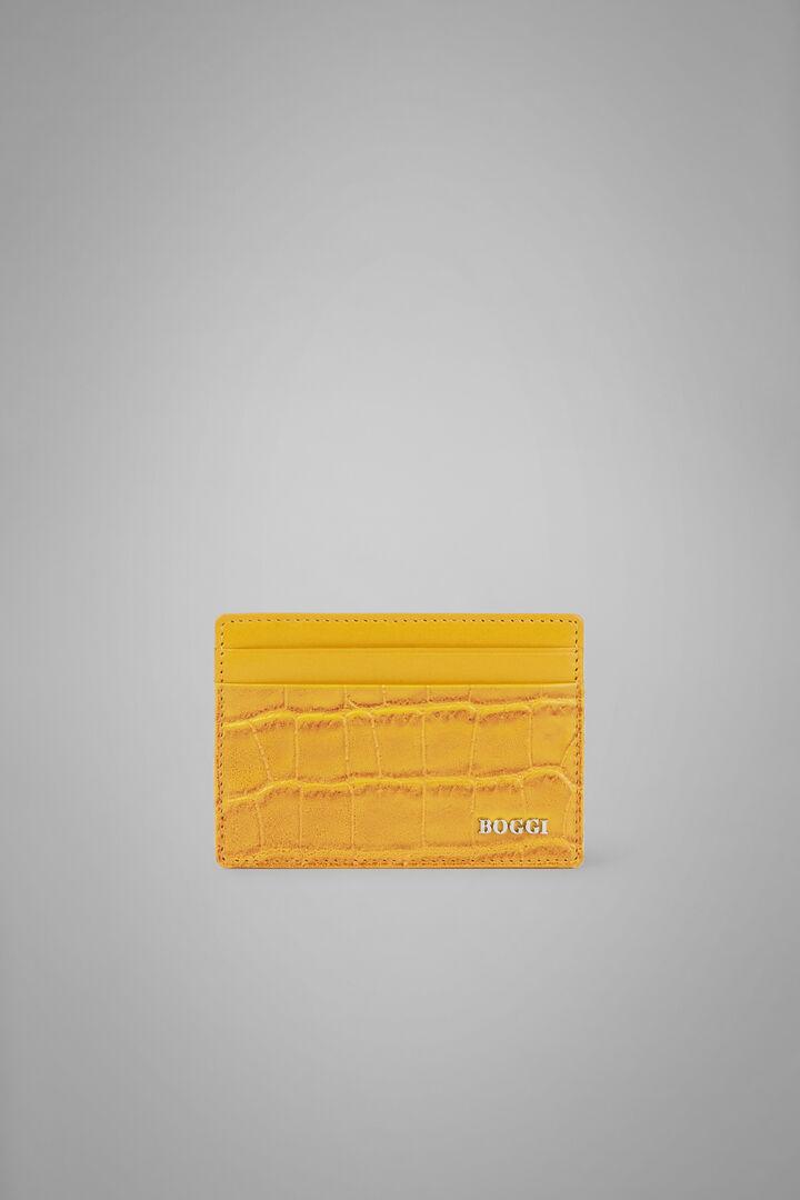 Porte-Cartes De Crédit En Cuir Et Imprimé Crocodile, Jaune, hi-res