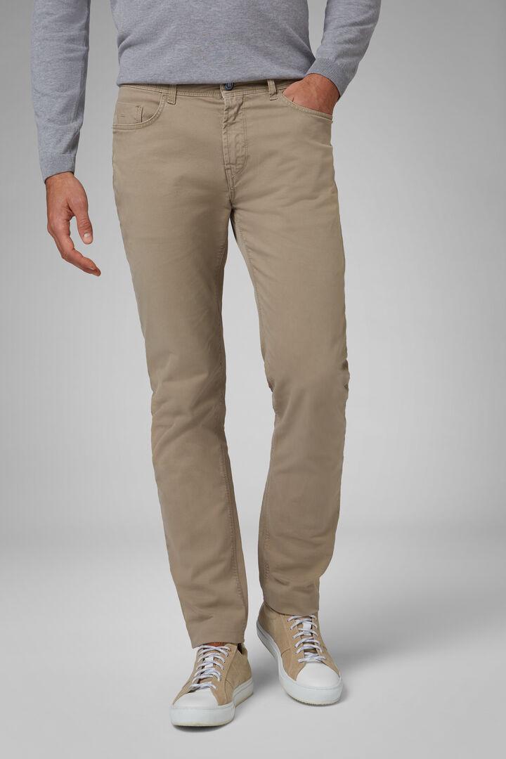 Pantalón Regular Fit De Algodón Elástico Con 5 Bolsillos, Beige, hi-res