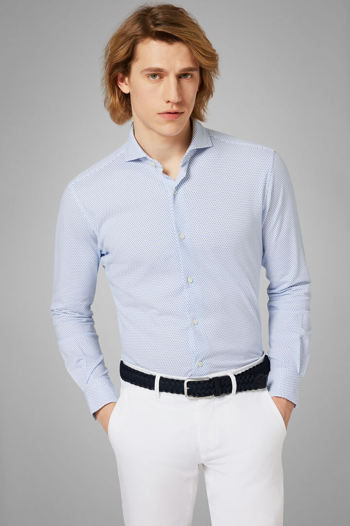 Regular Fit Sky Blue Casual Shirt With Open Collar, Light blue - Blue, hi-res