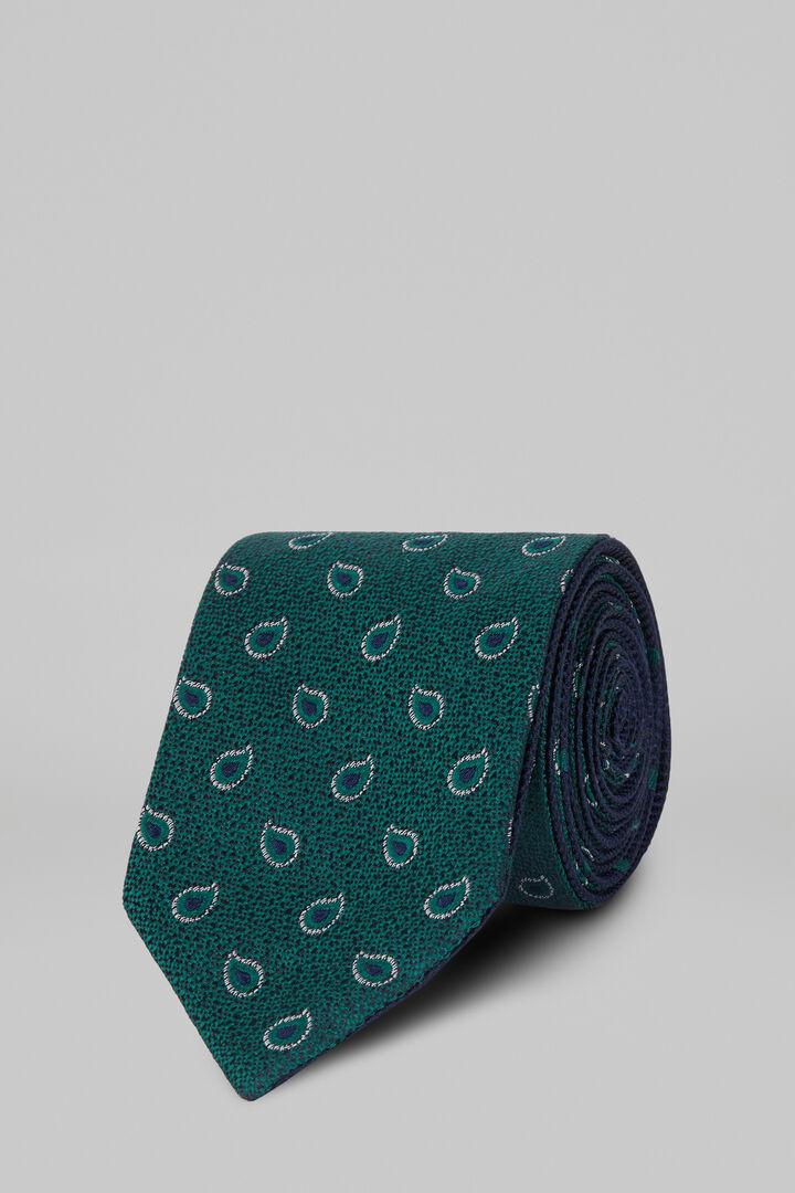 Gemusterte Krawatte Aus Seidenjacquard Beidseitig Tragbar, Grün blau, hi-res
