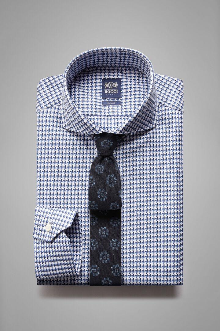 Camicia Blu Navy Collo Napoli Slim Fit, Bianco - Blu, hi-res