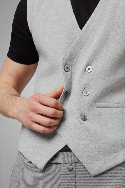 Zweireihige Strickweste Aus Baumwollkrepp, Grau, hi-res