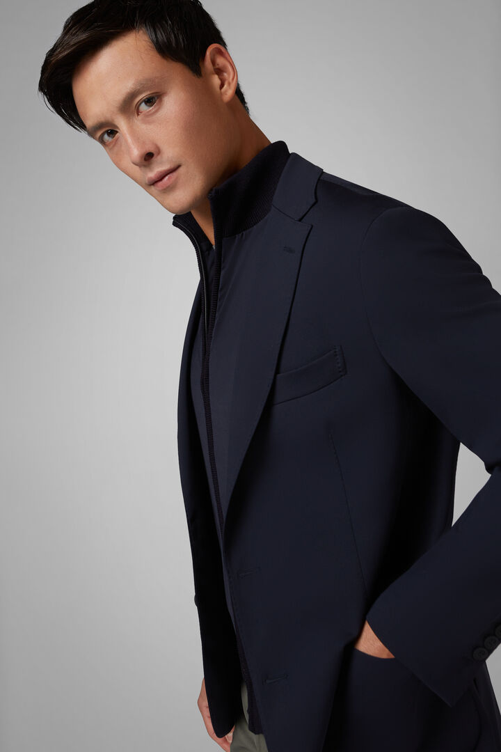 NAVY BLUE TECHNICAL JERSEY COMO BLAZER, , hi-res