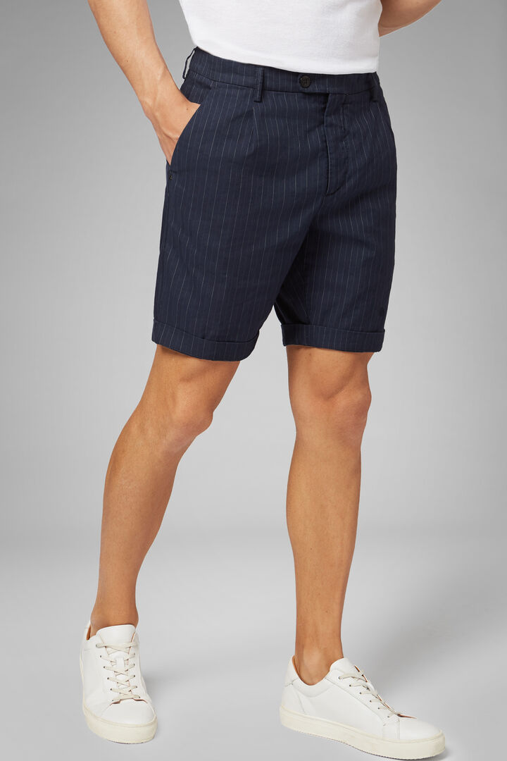 Nadelstreifen-Bermuda Mit Bundfalten Aus Baumwolle, Navy blau, hi-res