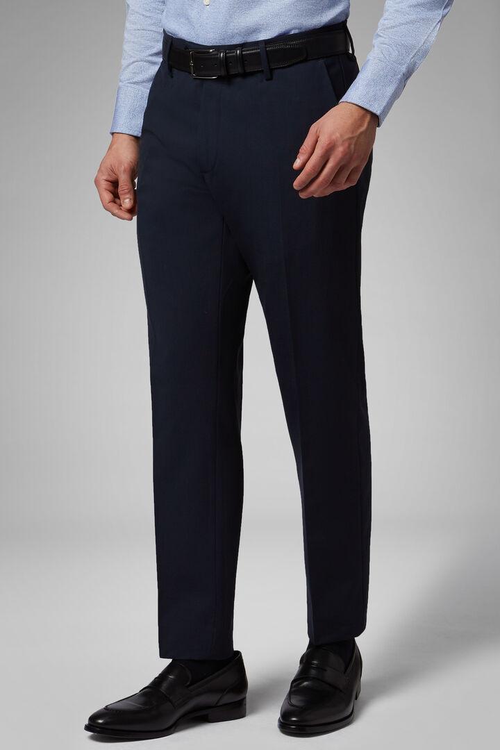 Pantalon En Laine Stretch Lavable Coupe Droite, Bleu, hi-res