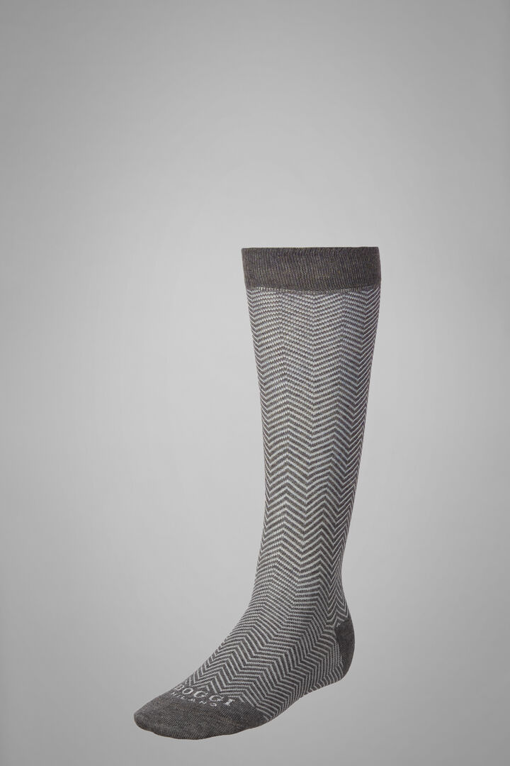 Long Socks With Macro Herringbone Motif, Grey - White, hi-res