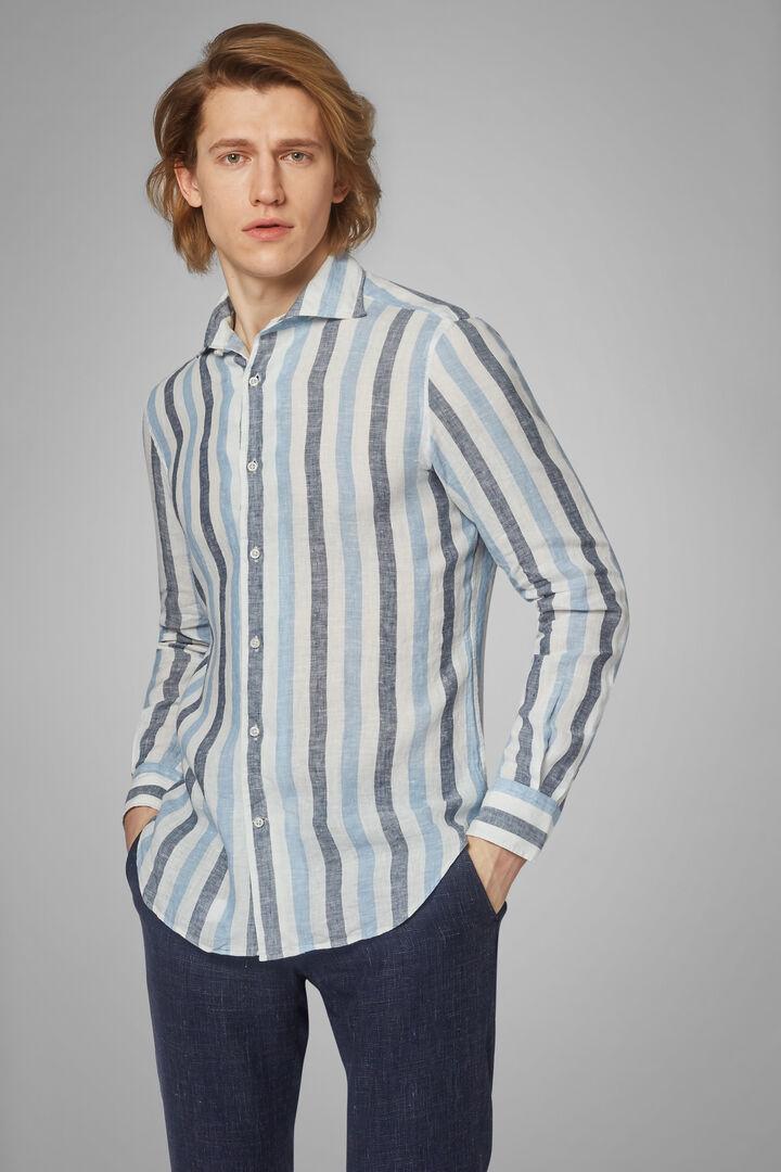 Regular Fit Sky Blue/Blue Striped Print Shirt With Cuban Collar, Light blue - Blue, hi-res