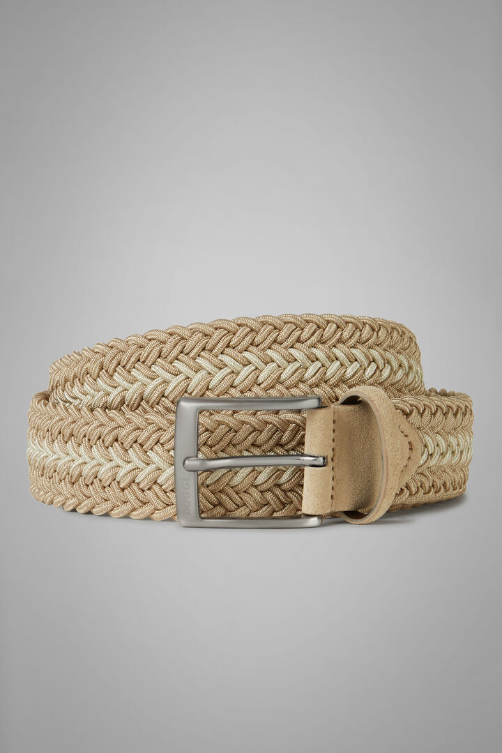 Two-Tone Woven Stretch Viscose Belt, Beige, hi-res