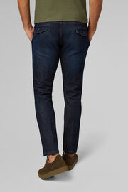 PANTALONE IN COTONE DENIM CON COULISSE SLIM FIT , DENIM, hi-res