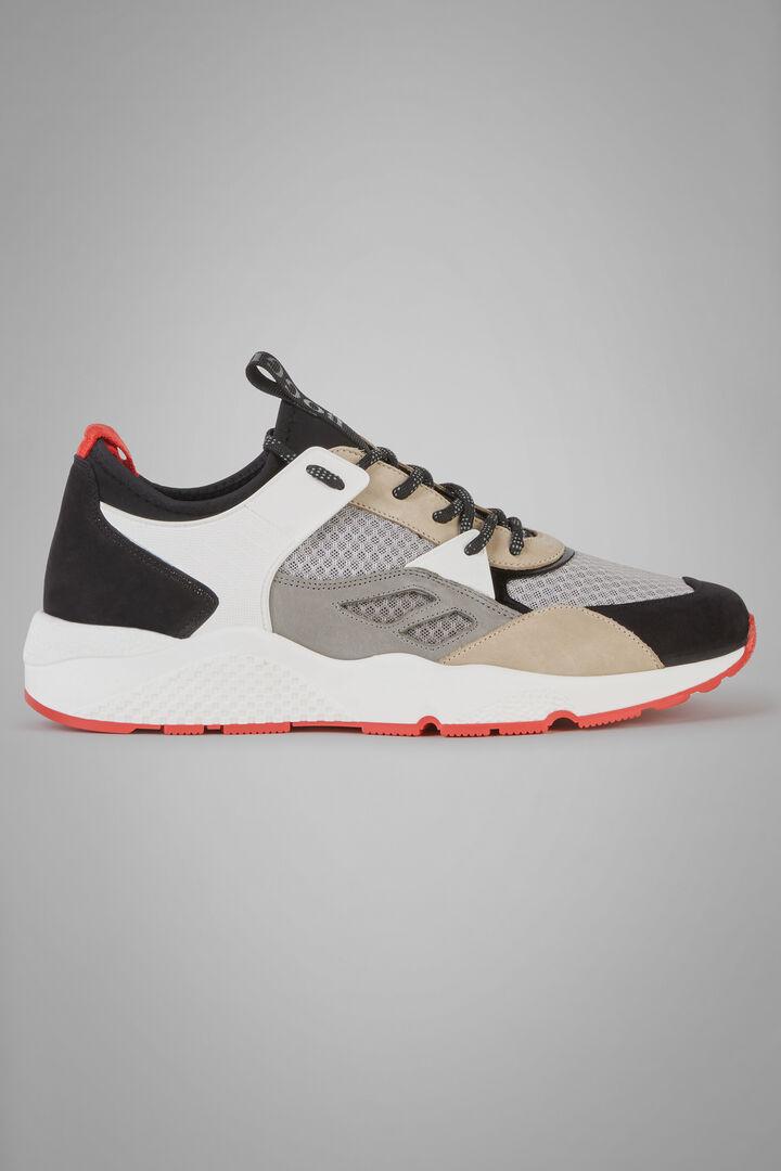 Sneakers De Mezcla De Materiales Con Interior 3D, Gris - Natural, hi-res