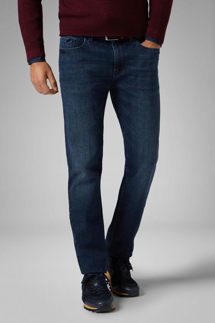 Pantalon 5 Poches En Denim Medium Wash Coupe Droite, toile de jean, hi-res