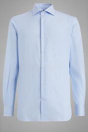 Chemise À Rayures Bleu Ciel À Col Windsor Coupe Droite, Bleu clair, hi-res