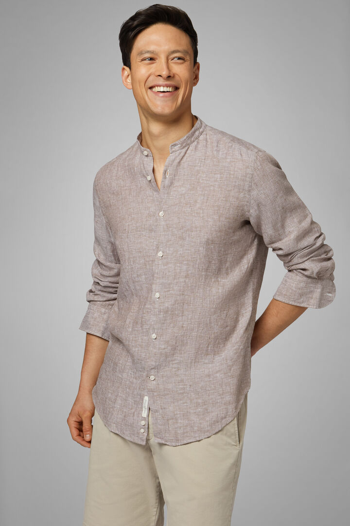 Camicia Blu Collo Coreano Regular Fit, Sabbia, hi-res