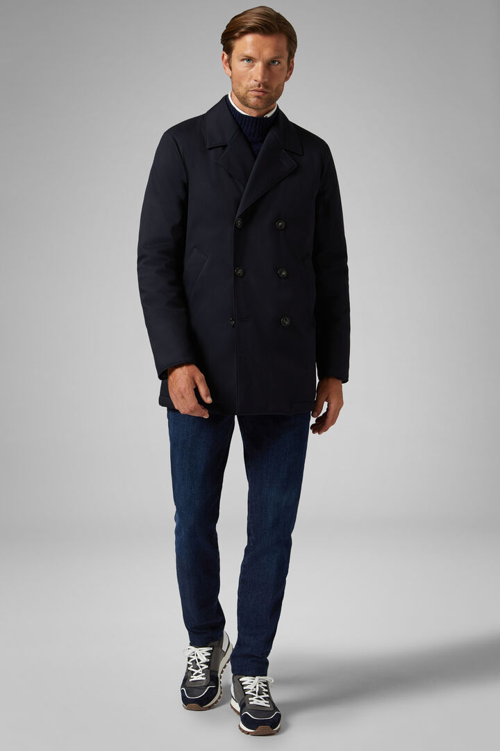 Padded Technical Twill Pea Coat, Navy blue, hi-res