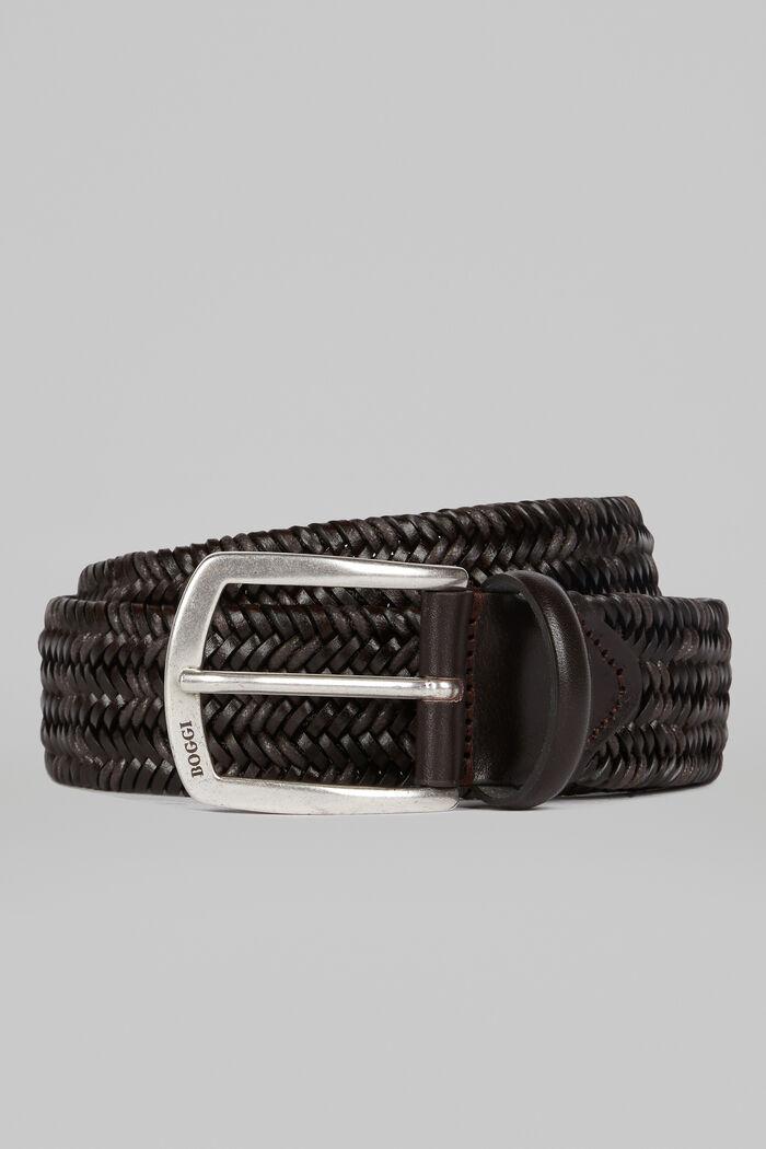 Cintura Intrecciata In Pelle E Cotone Stretch, , hi-res