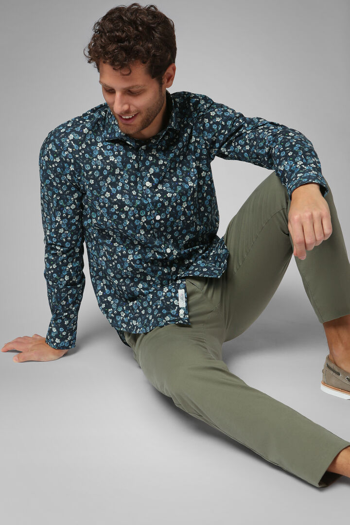Slim Fit Blue Floral Print Shirt With Florence Collar, Blue, hi-res