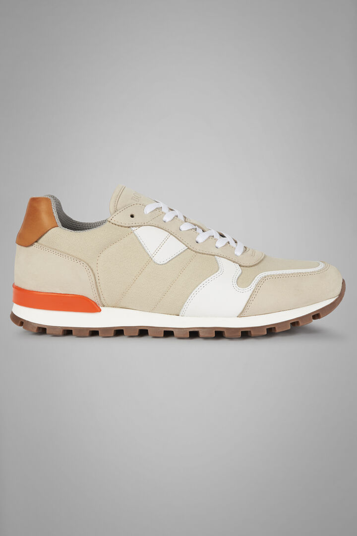 Fabric And Leather Running Trainers, Natural, hi-res