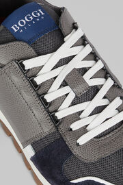 Sneakers Running En Cuir Et Daim, Gris blanc, hi-res