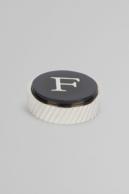 Metal Letter F Cufflinks, Black, hi-res