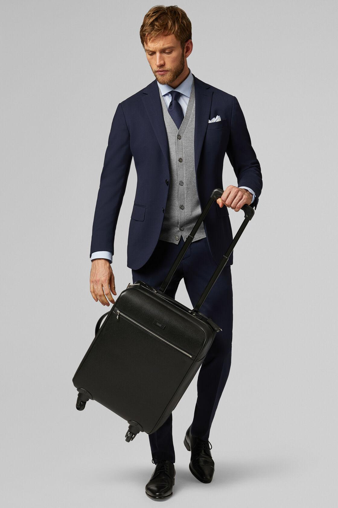 Caviar Print Leather Suitcase, Black, hi-res
