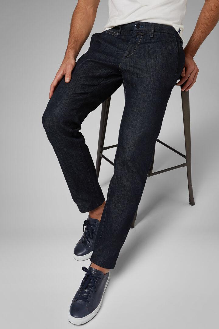 Pantalón Denim Slim Con Lavado Oscuro, Mezclilla, hi-res