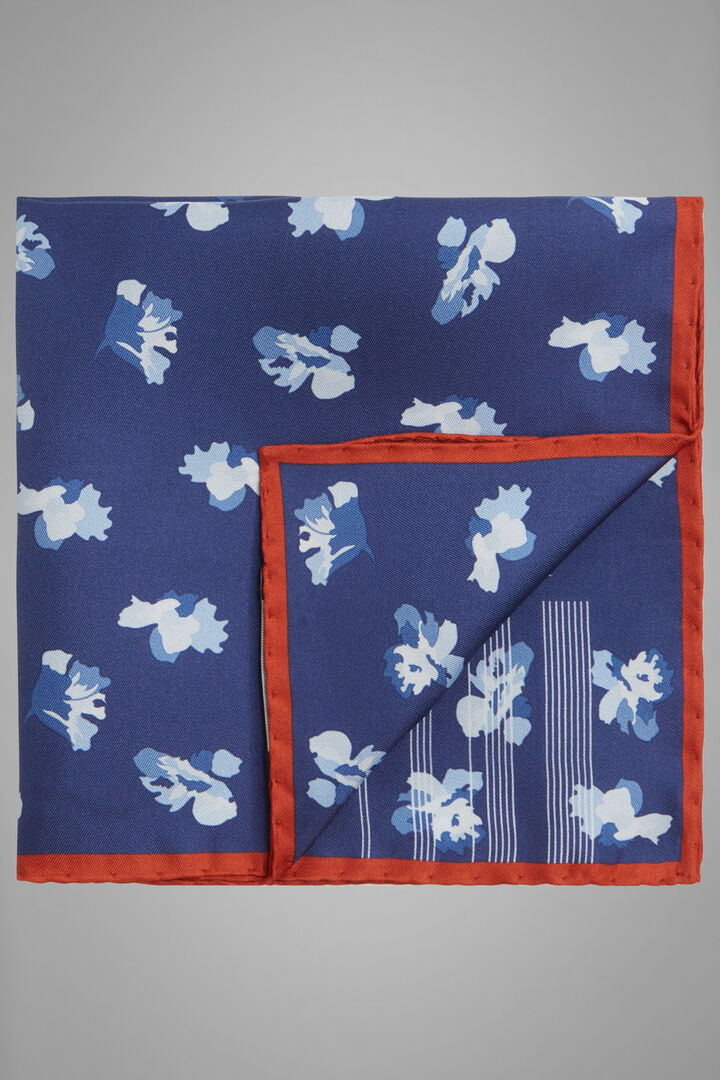 Floral Print Silk Pocket Square, Navy blue, hi-res